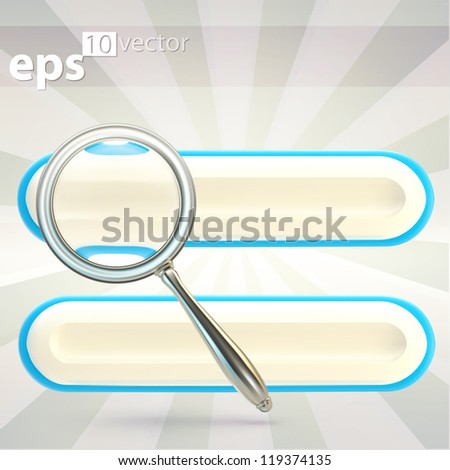 Search bar under the magnifier zooming glass, eps10 vector icon emblem