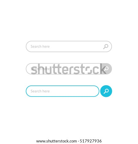 Search bar vector element design, set of search boxes ui template isolated on white background
