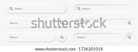 Search bar. Vector set searched navigator, Web elements for browsers, sites, mobile application and search button. Neumorphism design. Vector illustration EPS10