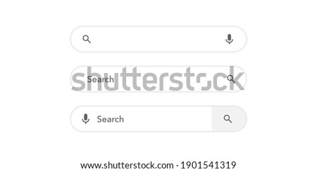 Search bar vector template neumorphism design white background. Search here field mockup. Browse web element. Button isolated symbol illustration. Ui view.