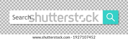 Search bar with button with shadow isolated on transparent background. Searching internet browse. Menu for site, app and interface. Empty search frame for web adress. Modern element for UI. Vector. Photo stock ©
