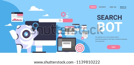 search bot seo engine optimization application internet searching concept artificial intelligence flat horizontal banner copy space vector illustration