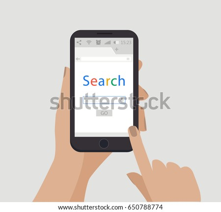 Search concept. Hand holding smartphone. Vector. Simple flat style illustration. Online search with mobile phone.