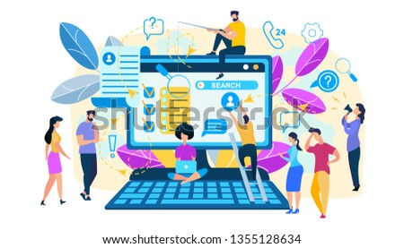 Search Concept. Tiny People Characters at Huge Laptop Monitor with Open Searching Browser Window. Men and Women Looking for Information in Internet, White Background. Cartoon Flat Vector Illustration #1355128634