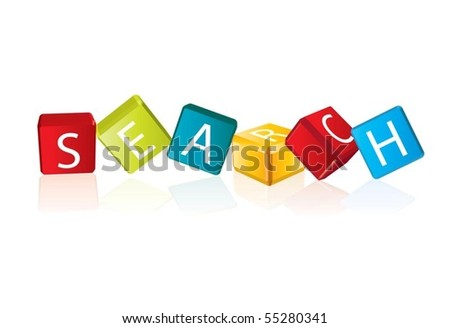 Search (cube letters in editable vector format)