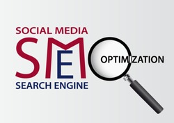 Search engine and social media optimization business concept background