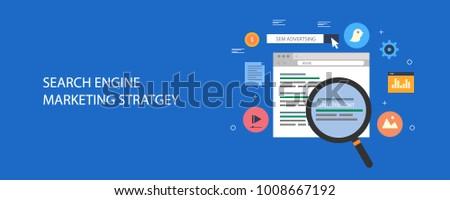 Search engine marketing or SEM, digital paid marketing flat design vector illustration on blue background
