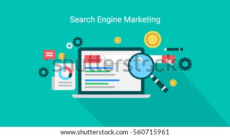 Search engine marketing, paid marketing, pay per click advertising vector illustration with icons