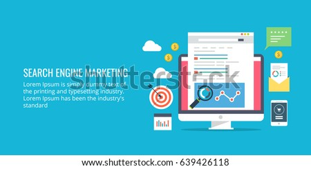 Search engine marketing, sponsored search result, paid search advertising flat vector banner with icons