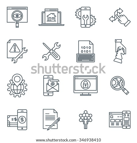 Search engine optimisation and design icon set suitable for info graphics, websites and print media. Black and white flat line icons.