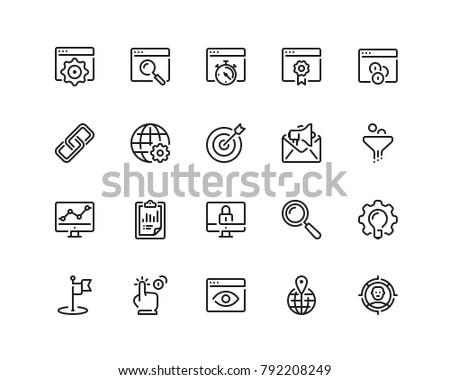 Search engine optimisation icon set