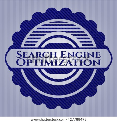 Search Engine Optimization badge with jean texture