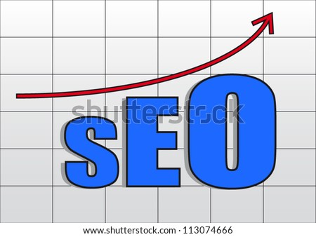 Search engine optimization business concept with red arrow grow up