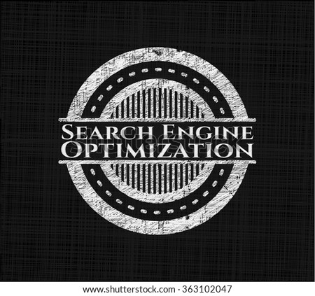 Search Engine Optimization chalkboard emblem on black board