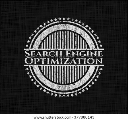Search Engine Optimization chalkboard emblem on black board
