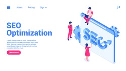Search engine optimization concept. A group of people in front of a web page with the words SEO. Web banner or landing page template. Flat isometric vector illustration isolated on white background.