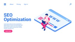 Search engine optimization concept. Man with laptop sits on a web page.Web banner or landing page template. Flat isometric vector illustration isolated on white background.