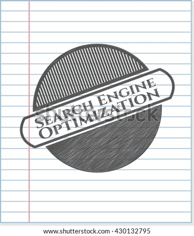 Search Engine Optimization emblem draw with pencil effect