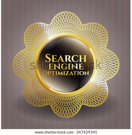 Search Engine Optimization gold shiny badge