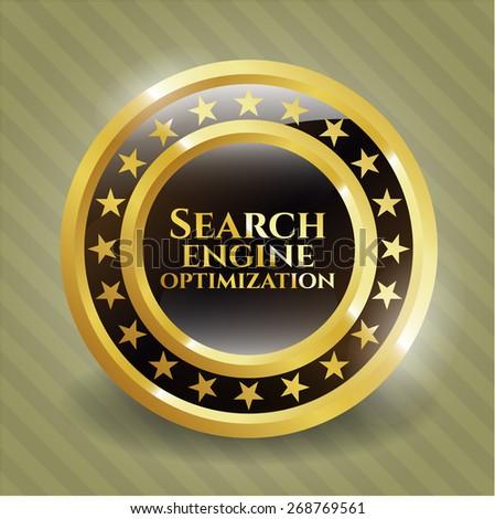 Search engine optimization gold shiny emblem. SEO golden badge