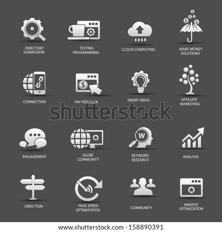 Search Engine Optimization icons, On gray background version 2,vector