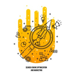 Search engine optimization illustration. Vector line flat style . Outline icons collection. SEO concept.