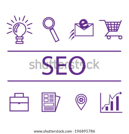 Search engine optimization, internet marketing icons. Vector illustration.