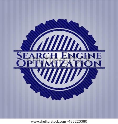 Search Engine Optimization jean or denim emblem or badge background