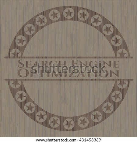 Search Engine Optimization retro wooden emblem