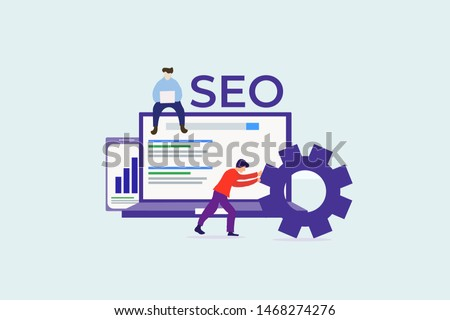 search engine optimization. SEO optimization vector illustration concept for web landing page template, banner, flyer and presentation