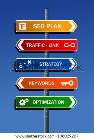 Search engine optimization (SEO) plan in road post. Vector file layered for easy manipulation and custom coloring.