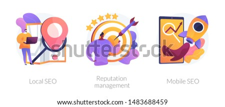 Search engine optimization services icons set. Market analytics, customer feedback analysis. Local SEO, reputation management, mobile SEO metaphors. Vector isolated concept metaphor illustrations