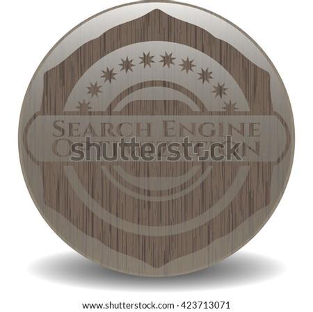 Search Engine Optimization vintage wooden emblem