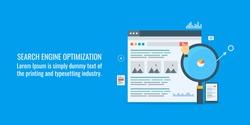 Search engine optimization, Website marketing, SEO flat vector