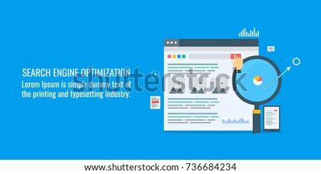 Search engine optimization, Website marketing, SEO flat vector