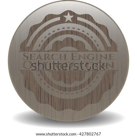 Search Engine Optimization wood emblem. Retro