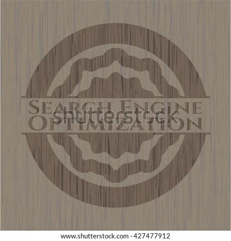 Search Engine Optimization wooden emblem. Retro