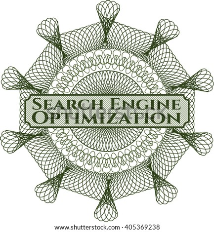 Search Engine Optimization written inside a money style rosette