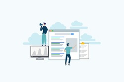 Search engine ranking - Search engine analytics illustration concept for web landing page template, banner, flyer and presentation