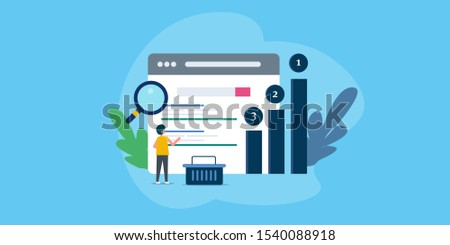 Search engine ranking, Seo success, Seo optimization, Seo analytics - flat design vector illustration with icons and character