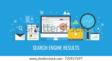 Search engine result, SEO optimization flat vector concept with icons