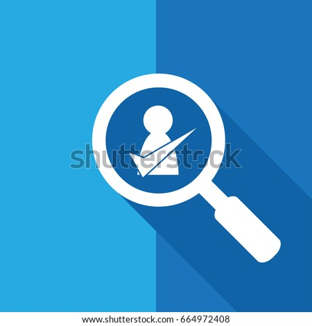 Search / Find Right Candidate sign /symbol with long shadow design - talent acquisition / hiring process / recruitment
