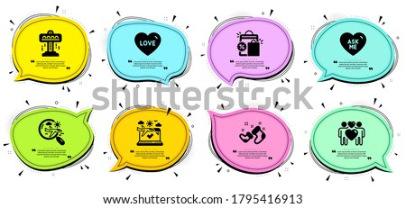 Search flight, Shopping bags and Love signs. Chat bubbles with quotes. Love couple, Attraction and Santa boots line icons set. Airplane travel, Ask me symbols. Lovers, Free fall. Holidays set. Vector
