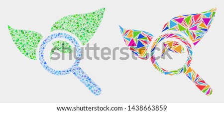 Search flora plant mosaic icon of triangle elements which have various sizes and shapes and colors. Geometric abstract vector illustration of search flora plant.
