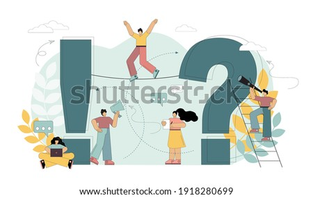 Search for answers to questions. Women and men ask questions and get answers. People standing next to a question and an exclamation mark. Frequently asked questions concept. Flat vector illustration.