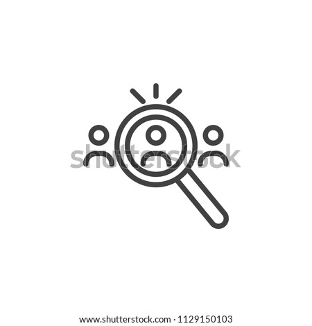 Search for Candidates outline icon. linear style sign for mobile concept and web design. Human resource simple line vector icon. People search symbol, logo illustration. Pixel perfect vector graphics
