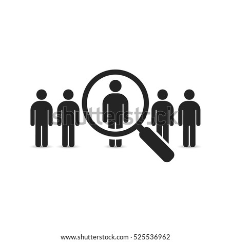 Search for employees and job, business, human resource. Looking for talent. Search man vector icon. Job search.