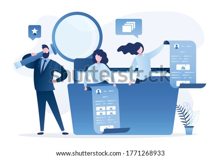 Search for files and documents. Business team search media content in folder. Easy tidying up and organizing files and documents in database. Support service, teamwork. Flat Vector illustration