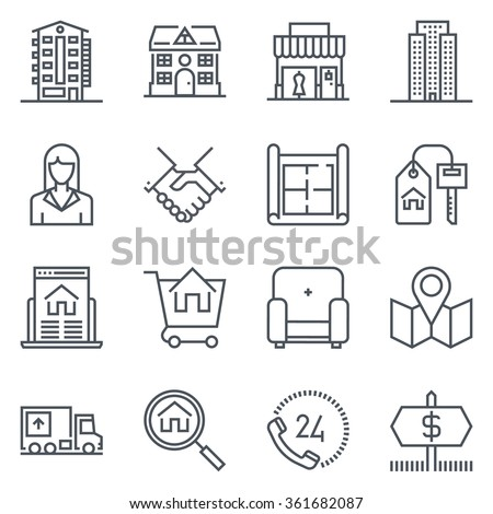 Search for house, real estate icon suitable for info graphics, websites and print media. Vector, flat icon, clip art.