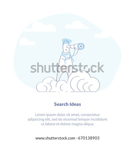 Search for ideas outline infographic illustration. Symbol of Solution, Idea Search, Research. Researcher with a telescope on the cloud. Modern isolated vector icon.